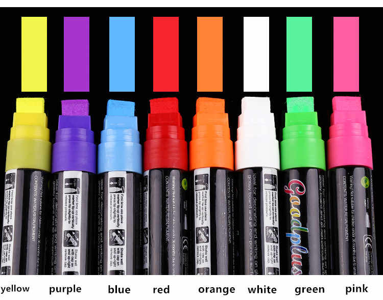Flashcolor Highlighter 15mm Liquid Chalk Marker Pen Broad Tip for LED Writing Board 8pcs Erasable Non-toxic Window Marker Pen