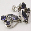Silver Fiery IOLITE 3 STONE EXTRA ORDINARY Studs Earrings 1.9 CM