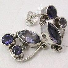 Silver Fiery IOLITE 3 STONE EXTRA ORDINARY Studs Earrings 1.9 CM