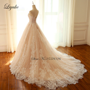 Image 2 - Liyuke Embroidery Strapless A Line Wedding Dress Floral Print Lace Elegant Bridal Dress  Lace Up with Court Train