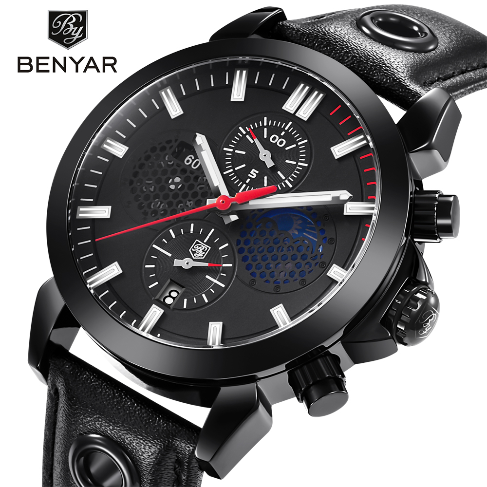BENYAR Top Brand Luxury Sports Chronograph Watches Men Waterproof Moon Phase Quartz Leather Wrist Watch Support dropshipping