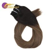 Moresoo, человеческие волосы для наращивания на заколках с эффектом омбре, толстые волосы для наращивания на всю голову, 7 шт., 100 г