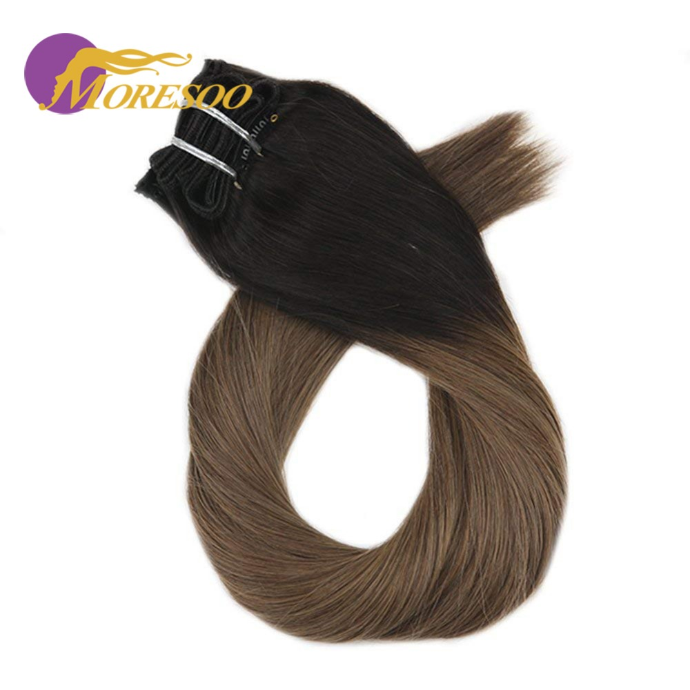 Moresoo Ombre Color Remy Clip In Human Hair Extensions Thick Double Weft Full Head Hair Extensions 7Pcs 100g