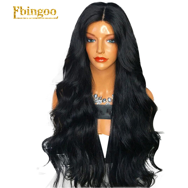 Ebingoo High Temperature Fiber Peruca 1B Black Wig Long Body Wave Synthetic Lace Front Wig