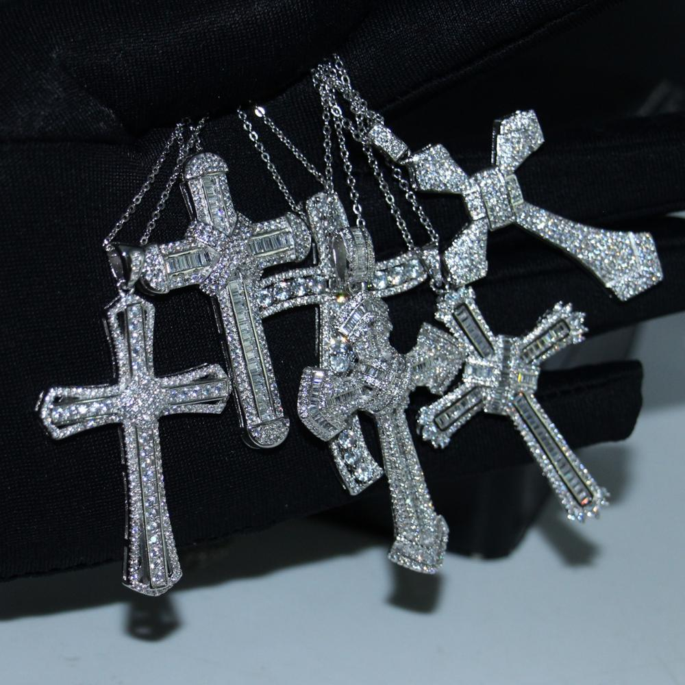 20 Style Classical Fashion Jewelry 925 Sterling Silver High Quality Cross Pendant Lucky Party Pave 5A CZ Women Wedding Necklace