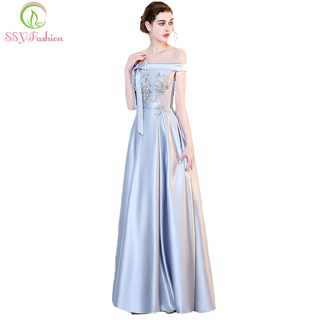 SSYFashion New Evening Dress The Bride Banquet Elegant Simple Grey Satin  Floor-length Prom Party Gown Custom Formal Dresses 5552cd7ab834