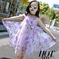 Элегантный Детские Платья Для Девочек Мода Цветочные Шифон Девушки Летнее Платье День Рождения Принцессы Платье Vestidos Infantis 5511 Вт