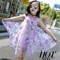 Niños elegantes Vestidos Para Las Muchachas de La Manera Vestido Floral de La Gasa Verano de Las Muchachas Del Vestido de la Princesa Fiesta de Cumpleaños Vestidos Infantis 5511 W