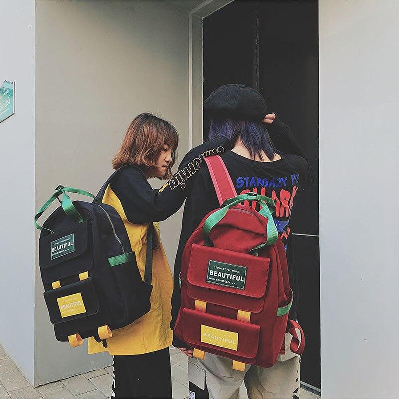 2019 Casual Nylon Backpack Fashion Hip Hop Student Back Pack Travel Harajuku Ribbon Laptop Bag Girl Boy SchoolBag Couple Bagpack
