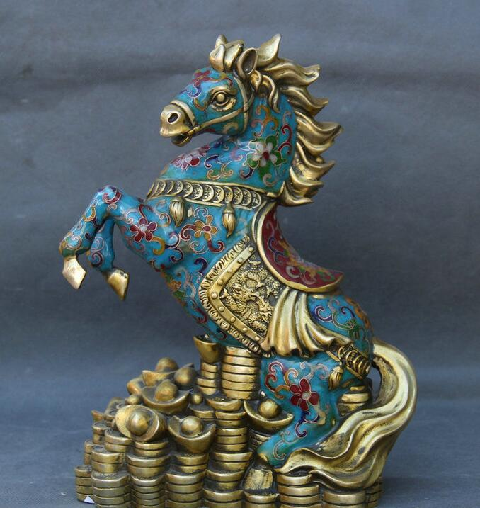 Particolari circa 12 Feng Shui Cinese Cloisonne Rame Zodiaco Anno del Cavallo Yuan Bao Statua RicchezzaParticolari circa 12 Feng Shui Cinese Cloisonne Rame Zodiaco Anno del Cavallo Yuan Bao Statua Ricchezza