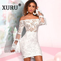 Женское кружевное платье с вышивкой XURU, сексуальное Клубное платье на бретельках, белое, винно-красное, черное платье для лета