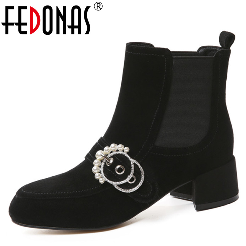 FEDONAS Women High Heels Ankle Boots Motorcycle Boots Fashion Sexy Autumn Winter Shoes Woman Beading Martin Boots Women