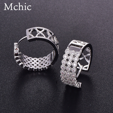 Mchic 3 Row Tiny Cubic Zirconia Stud Earrings Classic Round Hollow Luxury Exquisite Gift Women Earrings Fashion Jewelry Brincos
