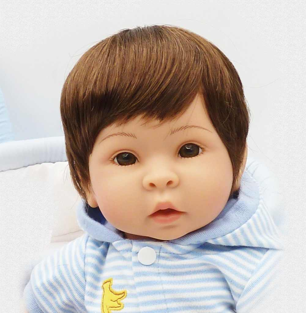 Juego de lujo, cesta azul, muñeca bebe, niño de 17 pulgadas, silicona suave, muñecas para bebés, juguetes para niñas, regalo infantil, muñecas reborn vivas