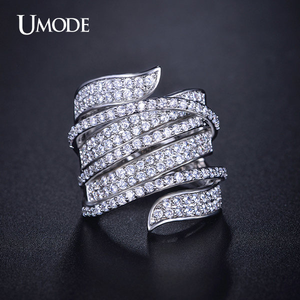 font b UMODE b font Anillos Rhodium plated Full Paved Top Grade CZ Fashion Finger