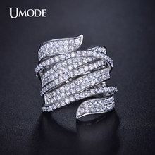 UMODE Brand Anillos Full Paved Top CZ Fashion Finger Rings For Women White Gold Color Ring