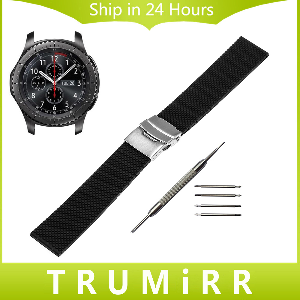 22mm Silicone Rubber Watch Band for Samsung Gear S3 Classic Frontier Garmin Fenix Chronos Safety Buckle Strap Wrist Bracelet 22mm 24mm silicone rubber watchband tool for garmin fenix 5 epix vivoactive hr watch band wrist strap 316l steel clasp bracelet