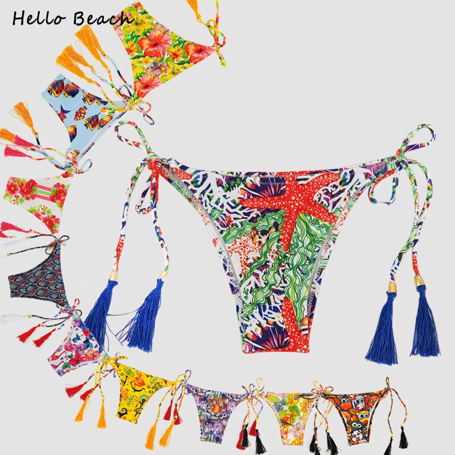 Bikini Bottoms Thong Briefs Brazilian Biquini Swimwear Female Printed Tanga Swimsuit Women Tassels Micro Strappy Bikini Bottom