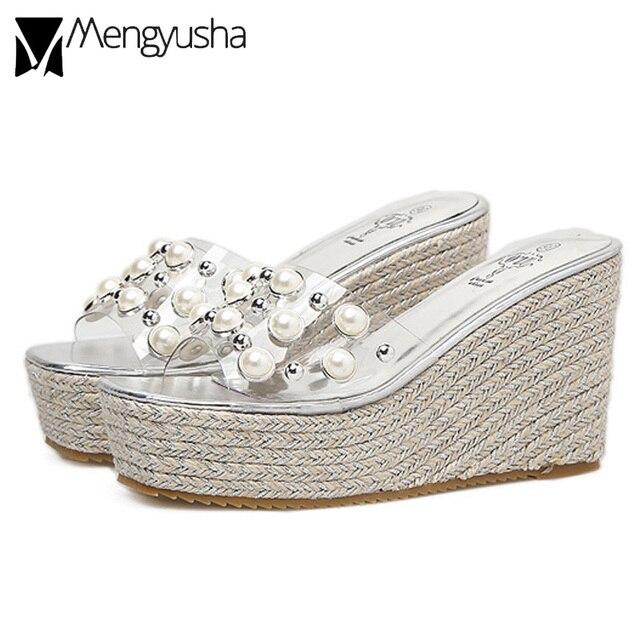 cork wedges sandals women transparent pearl gladiator sandals rivets  platform sandals creepers high heel flip flops beaded shoes 2aac98af7f42