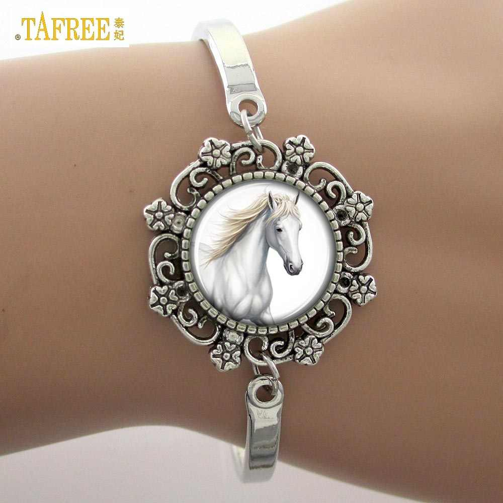 TAFREE White Horse art photo Glass Dome Bracelet Lace Charm Fashion 2017 Animal bracelet  Good Quality Women's Gifts