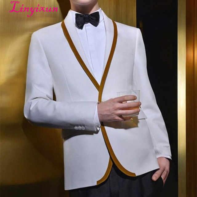 Linyixun новейший дизайн пальто брюки белый золотой отделкой смокинг куртка мужской костюм на выпускной Slim Fit Custom 2 шт. костюмы жених блейзеры Terno