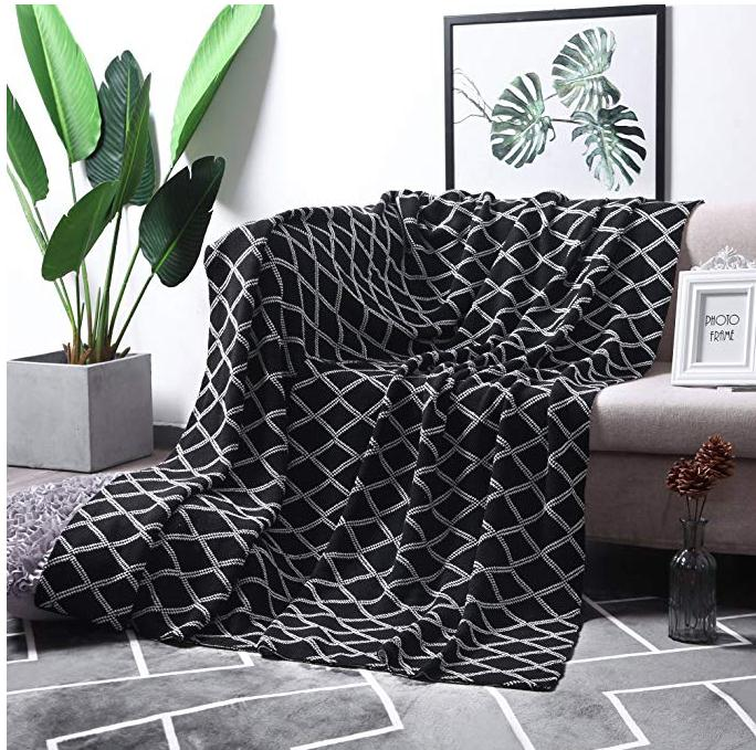 US 11 OFF MoMA 100 Cotton Light Grey Cable Knit Throw Blanket For Couch Bed Sofa Chair Gray White Stripe Reversible Decorative Knitted B In