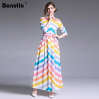 Runway Women Long Maxi Dresses Rainbow Striped Printed Maxi Dress 2019 Summer Female Long Sleeve Party Beach Clothing