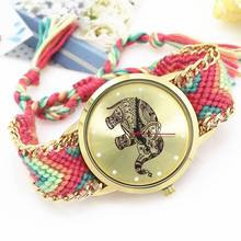 купить Elephant pattern braided rope with bracelet quartz dial analog quartz ladies watch watch new по цене 146.52 рублей