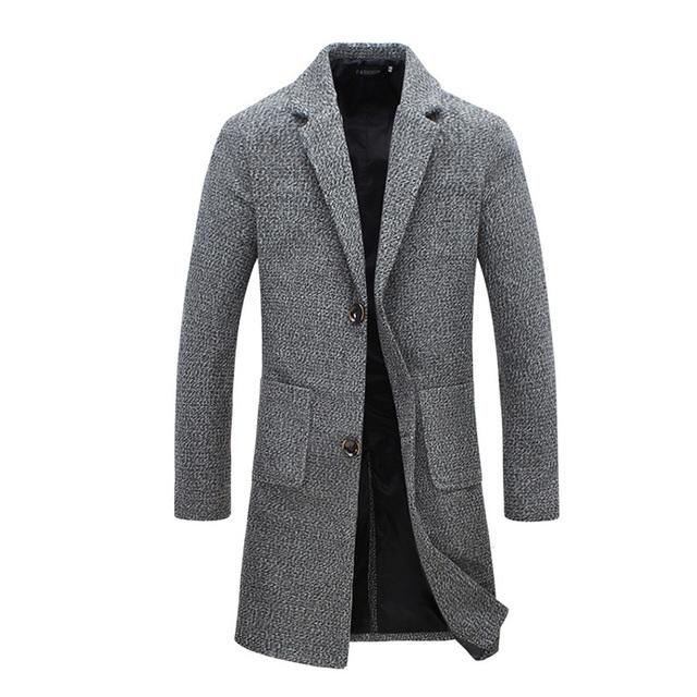 Nuevas llegadas hombres de otoño gabardina larga capa de los hombres outwear abrigo 2 colores M-5XL JPYG118