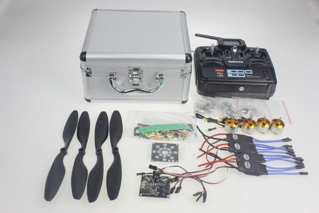 Y10335-H Prata Caso Com Transmissor T6EHP-E 30A ESC A2212 1000KV Motor Quadrocopter ESC Placa de Circuito V2.3 1045R Hélice