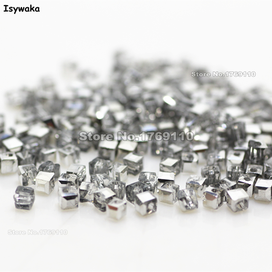 Isywaka 1980pcs Cube 2mm Half Silver Color <font><b>Square</b></font> Austria Crystal Beads Charm Glass Beads Loose Spacer Bead DIY Jewelry Making