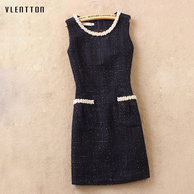 High quality 2018 Spring fashion Dress Ladies Sleeveless Casual Woolen Vest Dress Slim Fit Elegant Office Dress woman vestido in Dresses from Women 39 s Clothing