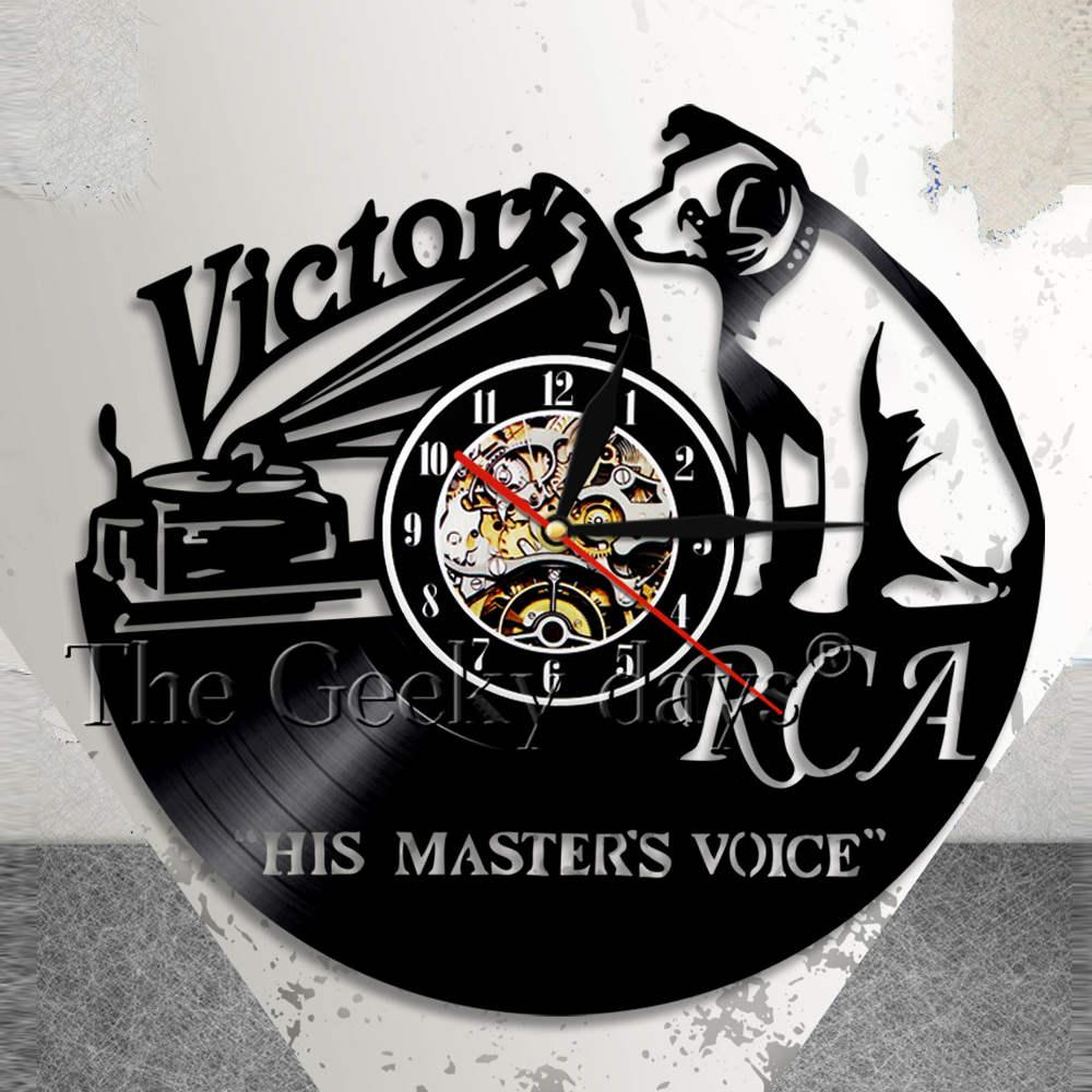 RCA Victor Voce del Cane Suo Padrone Dog Musicale Orologio Da Parete Victor Nipper Cane Vintage Vinyl Record Clock Rock n Roll Music Regalo
