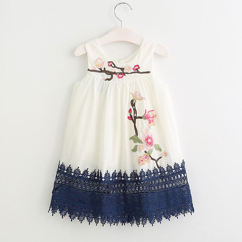 Girls Summer Dress 2019 Girls Dresses New Summer Leisure Style Embroidery Flowers Flowers