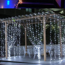 Outdoor Waterproof 3mx3m 300led EU Plug 220V LED Curtain Icicle String Light led light Wedding Christmas Holiday Window Lighting
