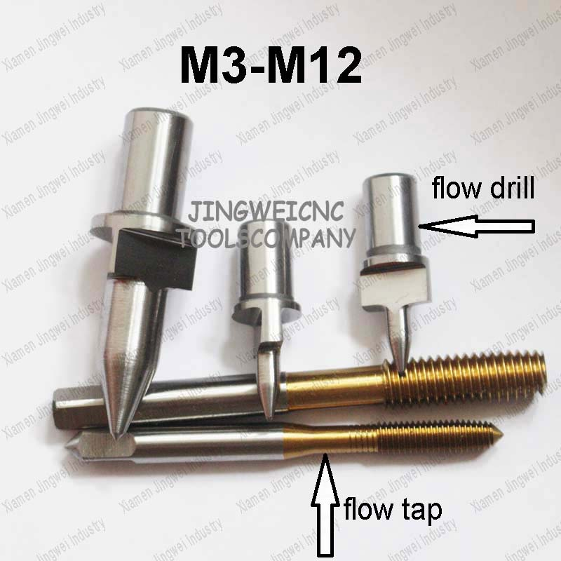 Tungsten Carbide flow drill Flat type M3 M4 M5 M6 M8 M10 M12 form drill, friction drill with flat type and thread forming tap 4pcs set hand tap hex shank hss screw spiral point thread metric plug drill bits m3 m4 m5 m6 hand tools