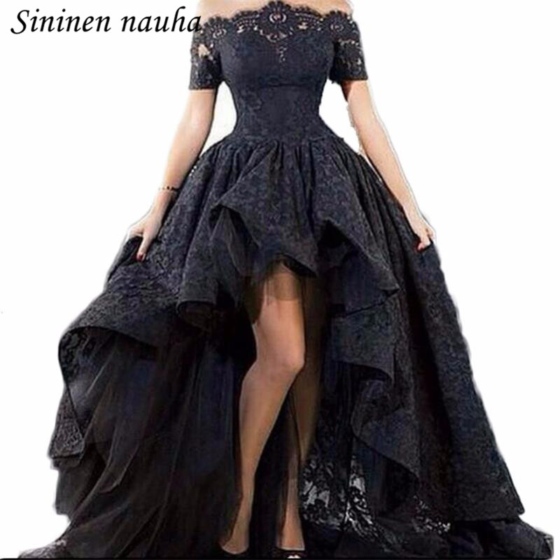 Lace High Low   Prom     Dress   Long Party   Dresses   for Juniors with Sleeves Off The Shoulder Black Plus Size Vestidos De Festa 287