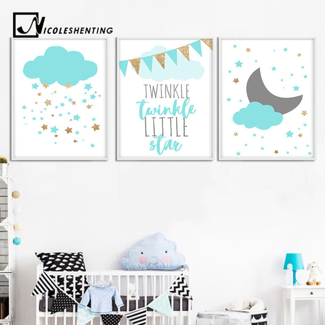 Blue Clouds Moon Nursery Canvas Wall Art Posters And Prints Large Painting Nordic Picture Kids