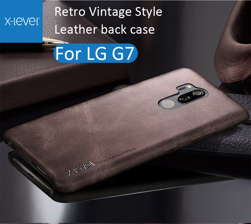 X-Level Cover Case For LG G7 ThinQ Retro Vintage X Level Matte Frosted Leather Back Protective Shell
