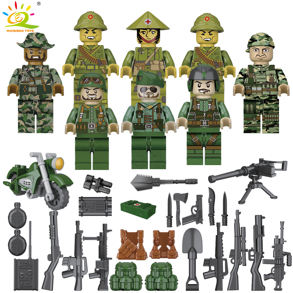 Military Army Ww2 Soldier Model Building Blocks Sets Compatible Legoingly Weapon Special Force Cs Swat Gun Toys Military Figures Model Building