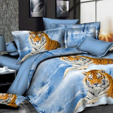 Soft 3d Animal Duvet Cover With Pillowcases Tiger leopard Bedding Set Au Queen King Size Flower Soft Bed Covers for Home decor(China)