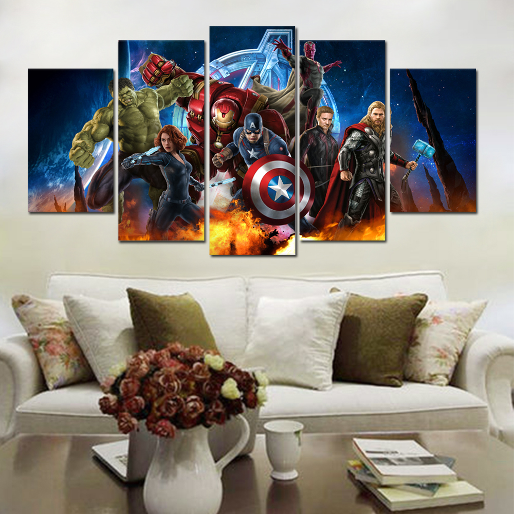 US $9.9 39% OFFThe Avengers Wall Decor Posters And Prints Wall Pictures  For Living Room Wall Art Decoration Marvel Canvas PaintingPainting &