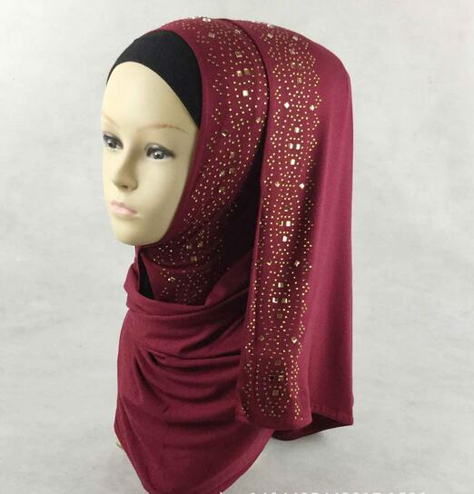 H1259 fashion modal elastic jersey long scarf with gold rhinestones islamic scarf wrap fast delivery