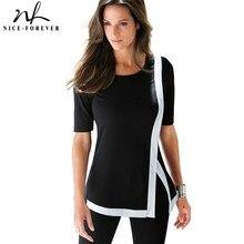 Nice-Forever Повседневное короткие футболки в мозаичном стиле, футболки в стиле пэтчворк, короткий рукав стильные боковые Разделение женский Для женщин летние футболки топы T040