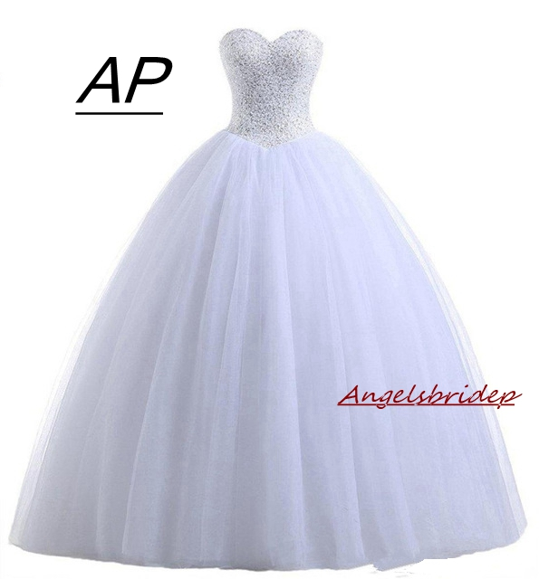 Angelsbridep White Ball Gown Quinceanera Dresses 2019 Charming Sequins Beading Sweet 16 Dresses For 15 Organza