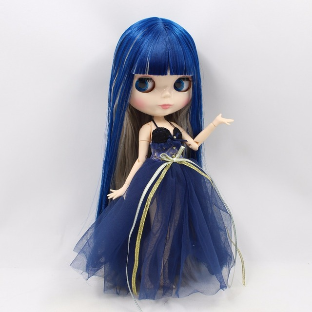 Factory Neo Blythe Doll Blue Grey Hair Jointed Body 30cm