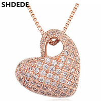 High Quality Cubic Zirconia Necklace Pendants Rose White Gold Plated CZ Diamond Heart Necklace Vintage Fashion