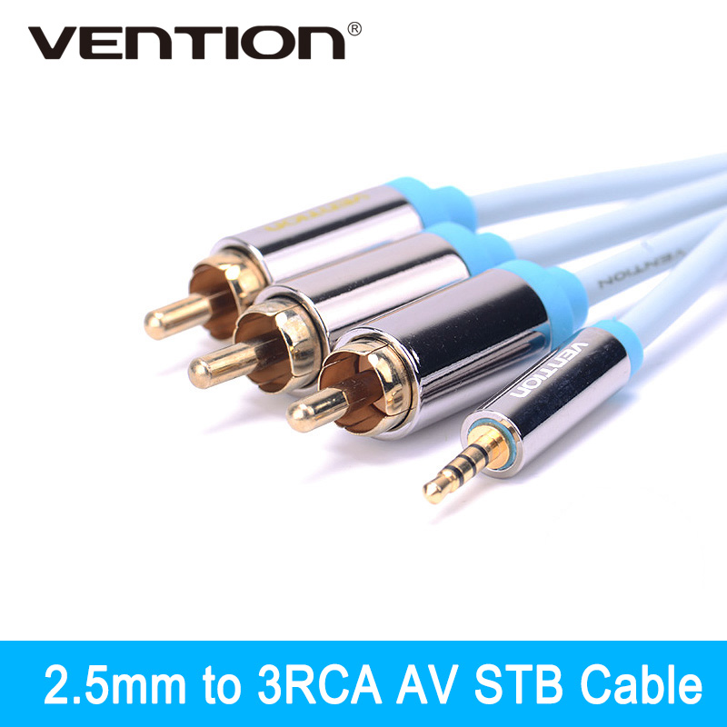 Vention Gold Plated Male 2.5mm Jack to Male 3 RCA Stereo Audio Cable Jack 2.5 mm to AV Converter Cable Video Cable for Android