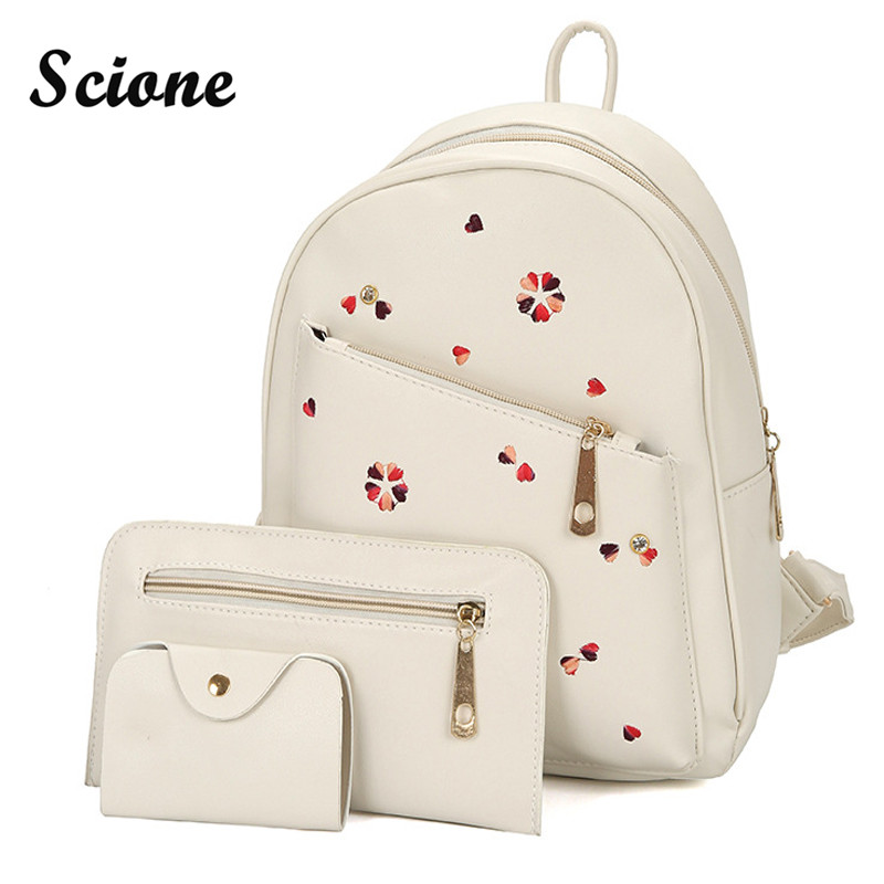 Scione Lovely Heart Embroidery Backpack 3PCS Women Bag Set PU Leather Travel Backpacks Rucksack Preppy Style