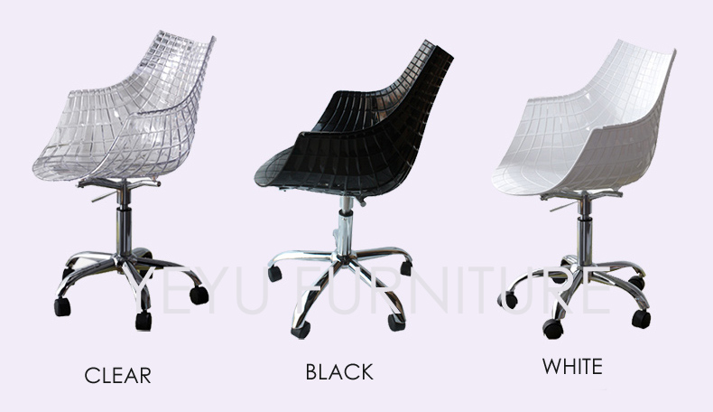 Transparent Modern Design Plastic Swivel Office Computer Chair 5 Wheel  Plastic Shell Office Chair Swivel Gas Lift Clear Chair In Office Chairs  From ...